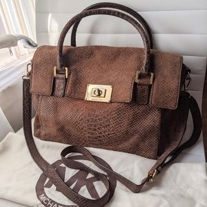 Michael Kors Suede Leather Brown Python Satchel